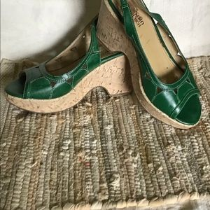Size 5 1/2  green sling Bach heels cork cover heel